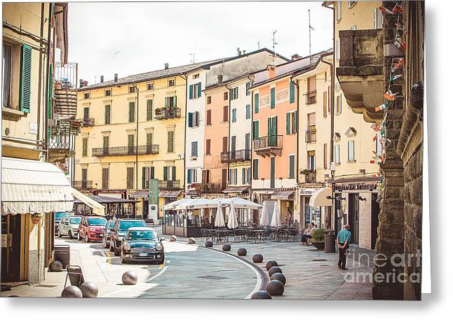 Porretta Terme, Italy - August 2, 2015 - Colorful Buildings Vintage Bologna  Greeting Card