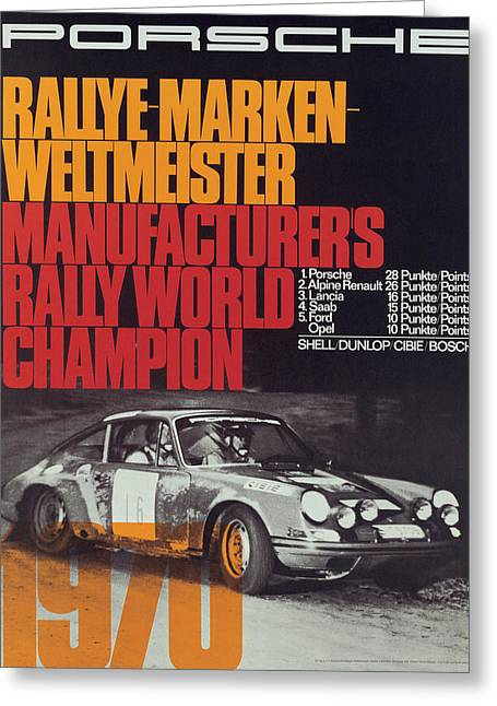 Porsche 1970 Rally World Champion Greeting Card by Georgia Fowler