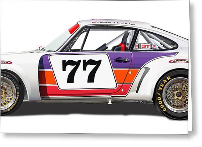 Porsche 1977 Rsr Illustration Greeting Card by Alain Jamar