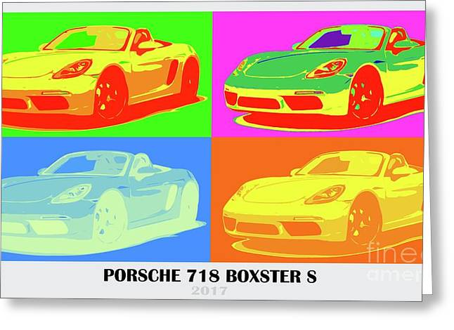 Porsche 718 Boxster S, Warhol Style, Office Decor Greeting Card