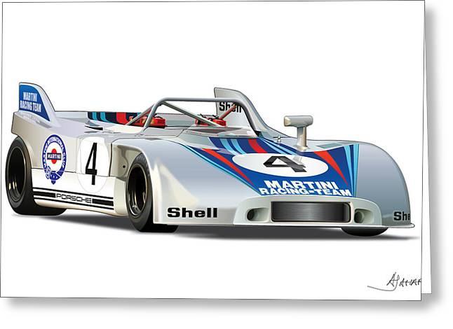 Automotive Art Greeting Cards - Porsche 908 Martini Greeting Card by Alain Jamar