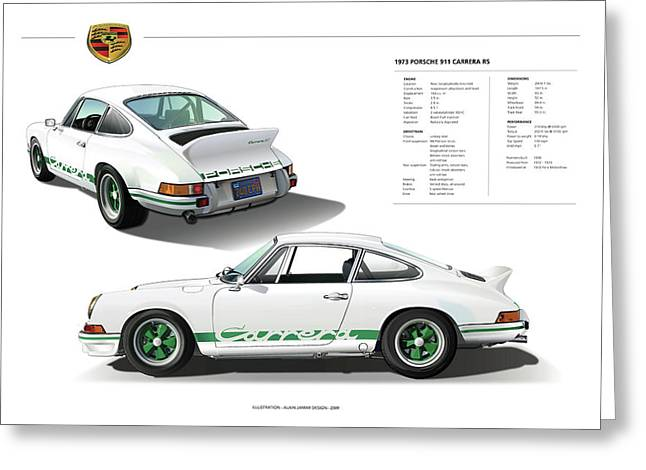Porsche 911 Carrera Rs Illustration Greeting Card by Alain Jamar