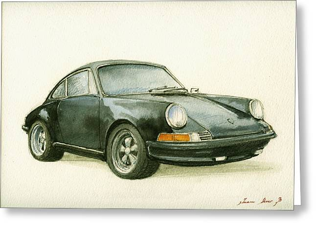 Porsche 911 Classic Car Art Greeting Card