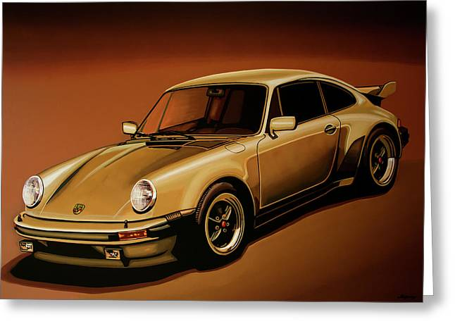 Porsche 911 Turbo 1976 Painting Greeting Card