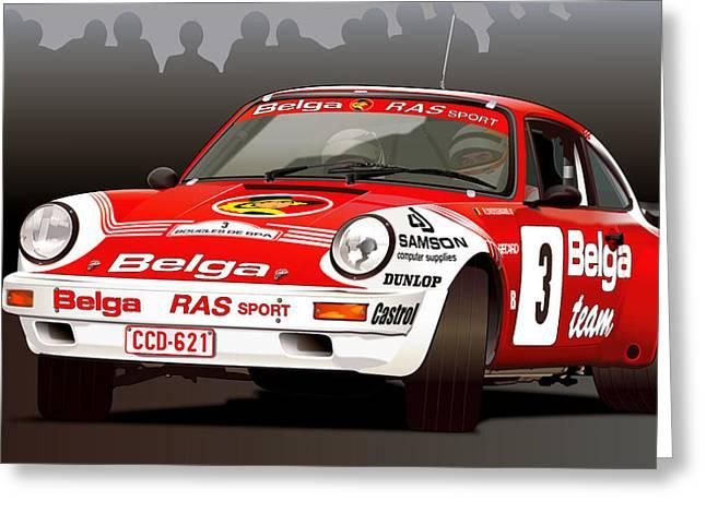 Porsche 911 Rally Illustration Greeting Card
