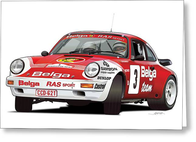 Porsche 911 Sc Rs Belga Team Greeting Card
