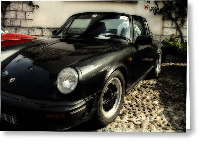 Porsche 911 Sc Targa In Black Greeting Card by Georgia Fowler