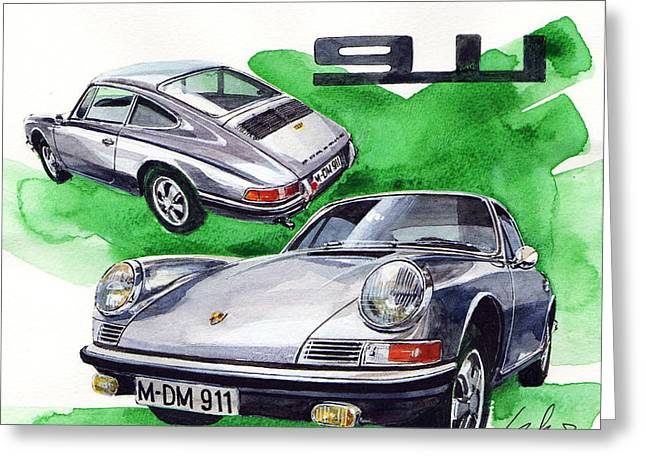 Porsche 911 Stainless Steel Body Greeting Card