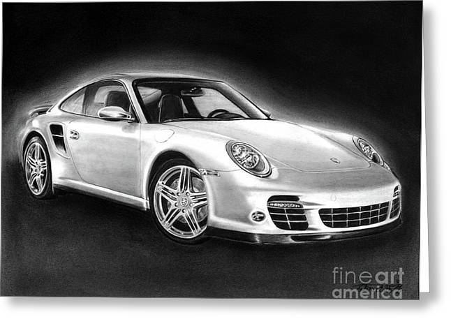 Black Drawings Greeting Cards - Porsche 911 Turbo    Greeting Card by Peter Piatt