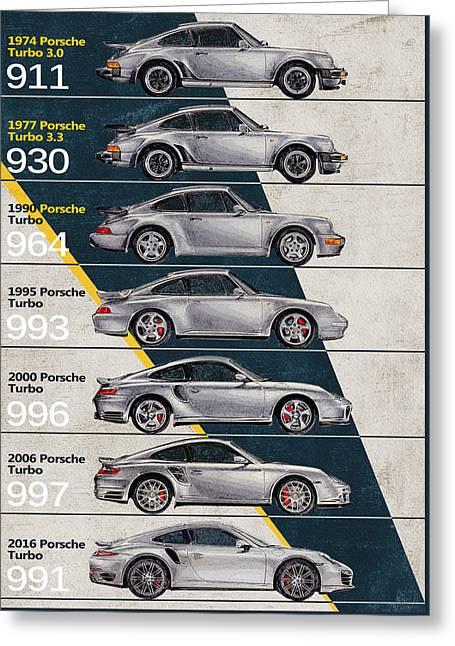 Porsche 911 Turbo Timeline  Greeting Card