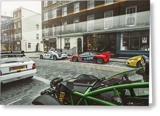 Porsche 918 Mclaren F1 Gtr Ferrari Specialea Ariel Nomad And Lancia Delta Integrale Greeting Card