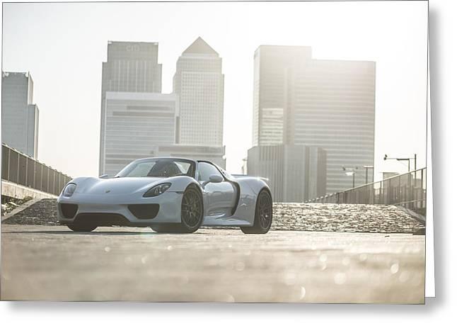 Porsche 918 Spyder Canary Wharf Greeting Card