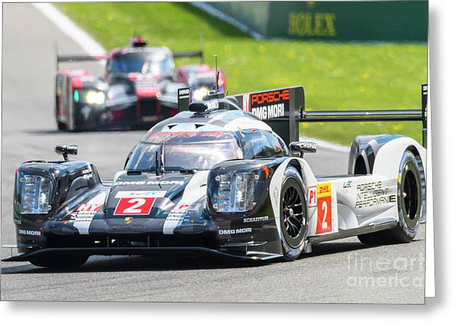 Porsche 919 Hybrid And Audi R18 Race Cars Greeting Card