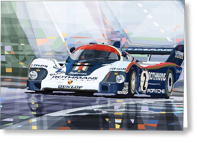 Classic Mixed Media Greeting Cards - Porsche 956 Rothmans 1982 1000km Francorchamps Derek Bell Greeting Card by Yuriy  Shevchuk