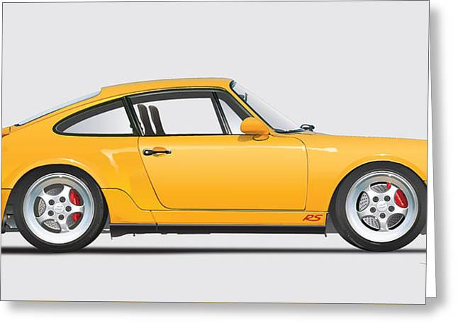 Porsche 964 Carrera Rs Illustration In Yellow. Greeting Card by Alain Jamar