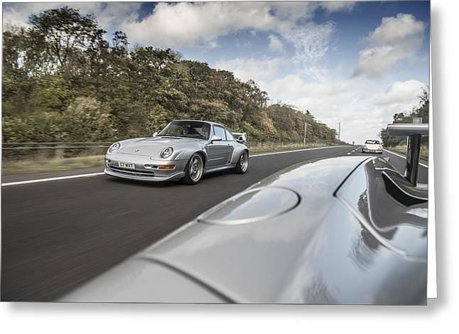 Porsche 993 Gt2 With Carrera Gt And 1973 2.7 Rs Greeting Card