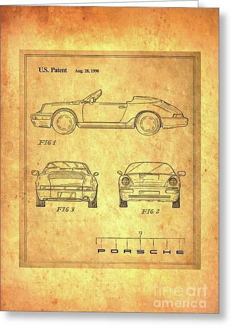 Porsche Blueprint Greeting Card