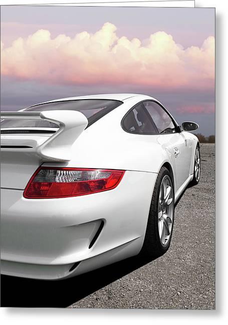 Porsche Gt3 Cs At Sunset Greeting Card by Gill Billington
