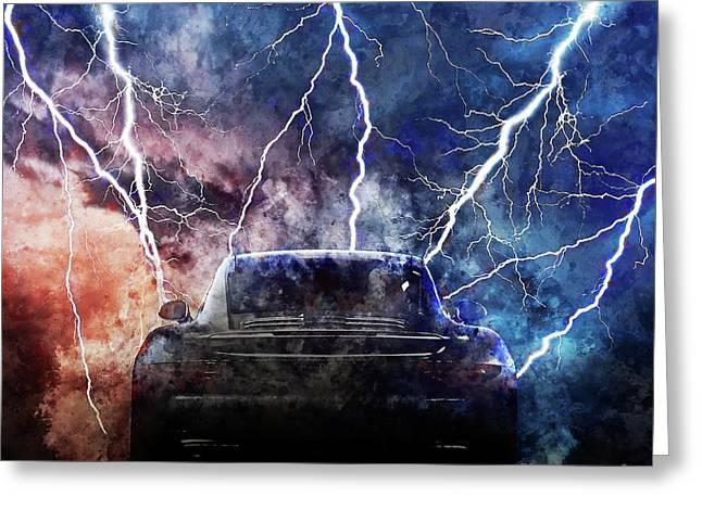 Porsche Lightning Storm Greeting Card