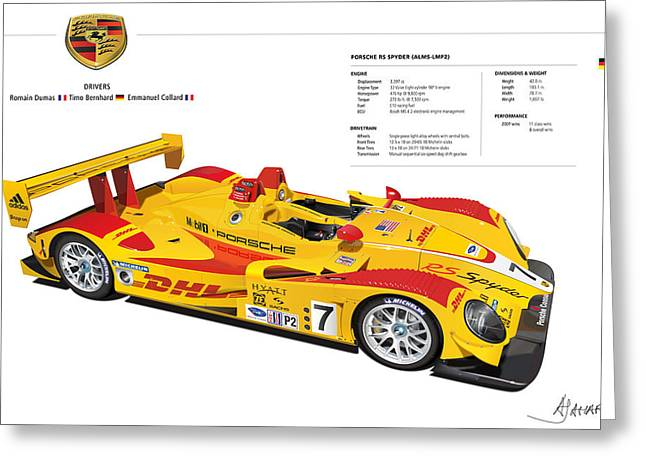 Alm Greeting Cards - Porsche poster RS Spyder Greeting Card by Alain Jamar