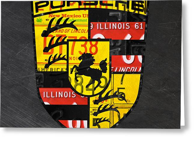 Porsche Sports Car Logo Recycled Vintage License Plate Car Tag Art Greeting Card