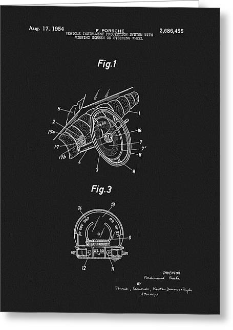 Porsche Steering Wheel Patent Greeting Card