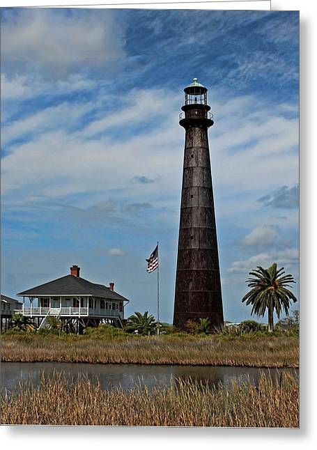 Greeting Card featuring the photograph Port Bolivar Lighthouse by Judy Vincent