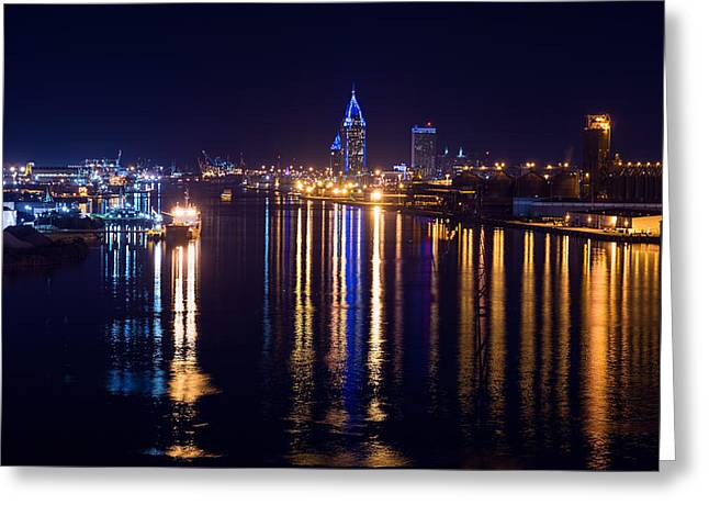 Port City In Blue Greeting Card