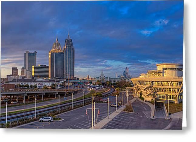 Port City Skyline Panorama Greeting Card