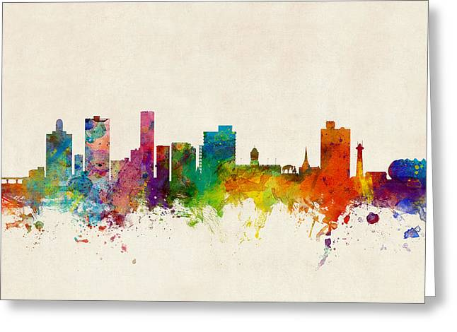 Port Elizabeth South Africa Skyline Greeting Card by Michael Tompsett