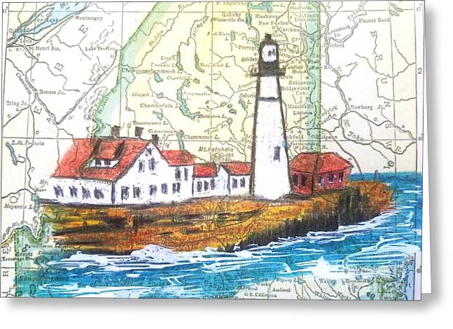 Port Head Lighthouse Maine Greeting Card by Scott D Van Osdol