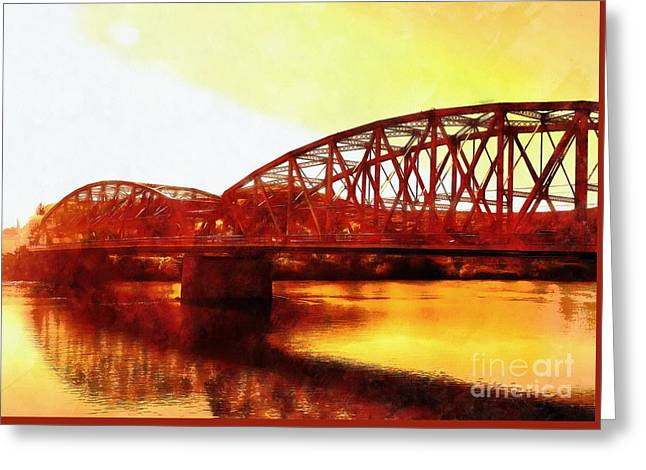 Port Jervis Ny Bridge - Sienna Skies  Greeting Card by Janine Riley