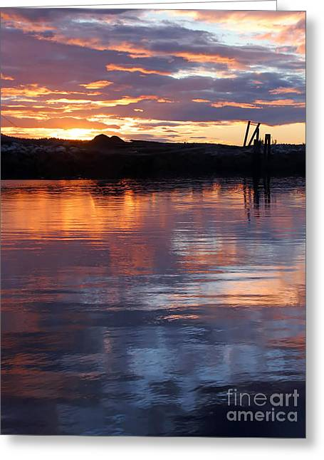 Port Mcneill Sunset Greeting Card by Myrna Bradshaw