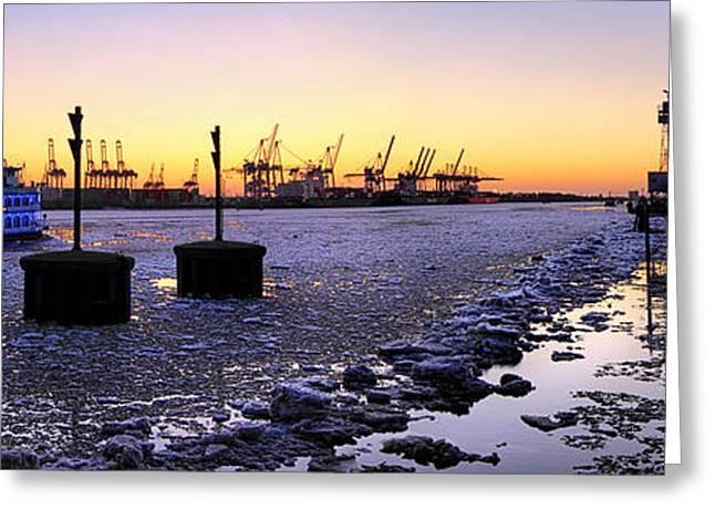Port Of Hamburg Winter Sunset Greeting Card