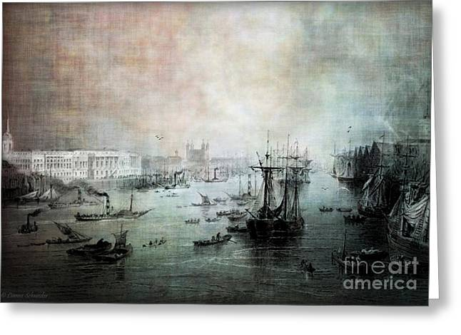 Port Of London - Circa 1840 Greeting Card by Lianne Schneider