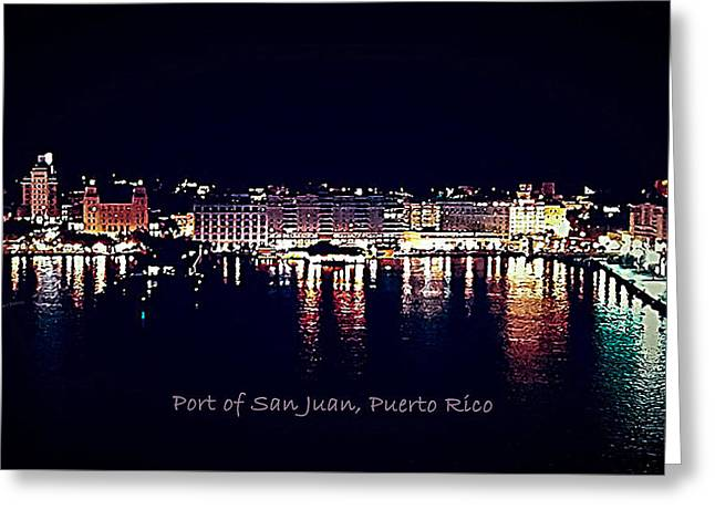 Greeting Card featuring the photograph Port Of San Juan Night Lights by DigiArt Diaries by Vicky B Fuller
