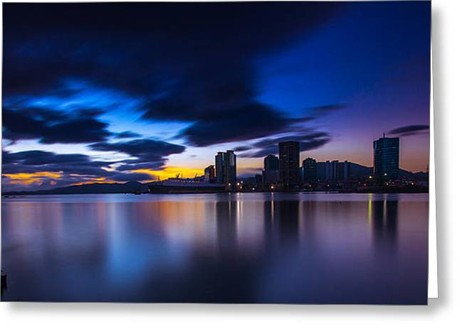 Port Of Spain New Sky Line  Greeting Card by Marcus Gonzales