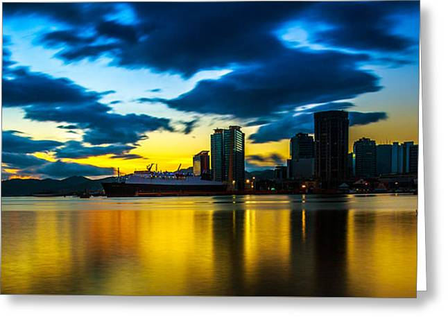 Port Of Spain Reflections  Greeting Card