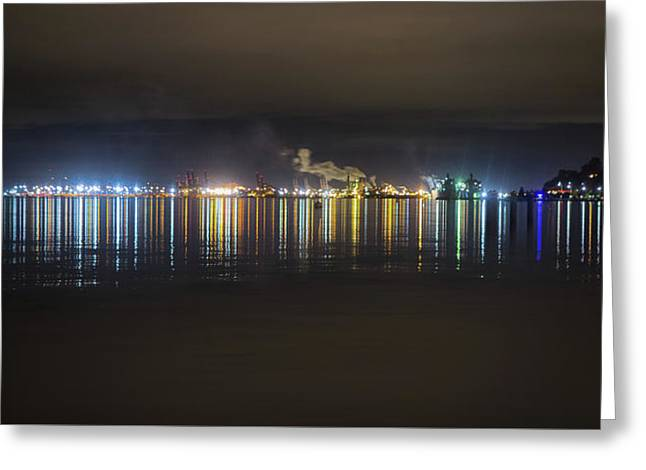 Port Of Tacoma Lights Greeting Card