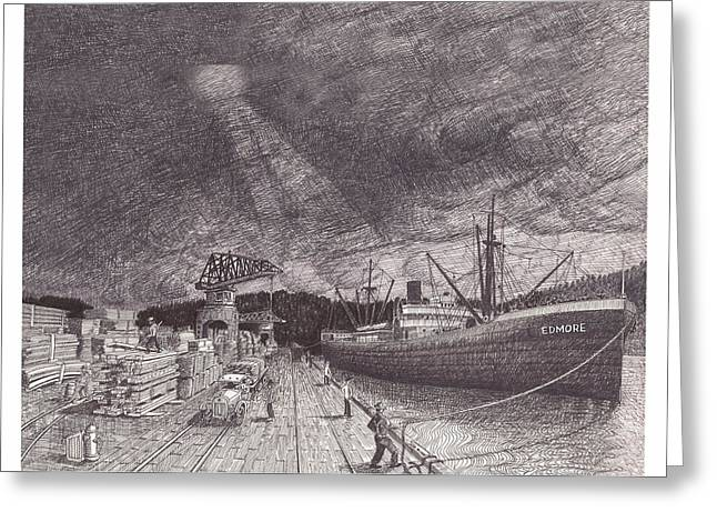 Boats In Harbor Drawings Greeting Cards - Port of Tacoma WA waterfront Greeting Card by Jack Pumphrey