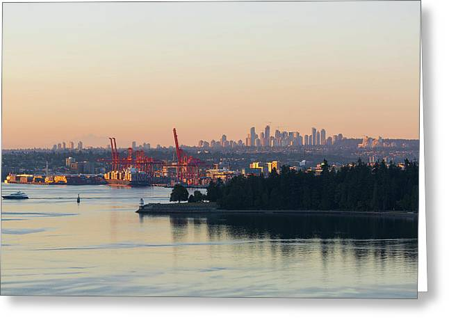 Port Of Vancouver By Stanley Park Greeting Card by David Gn