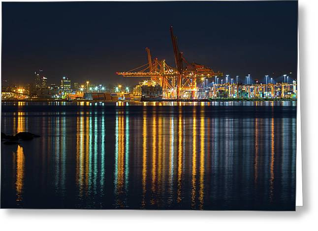 Port Of Vancouver In British Columbia Canada Greeting Card by David Gn