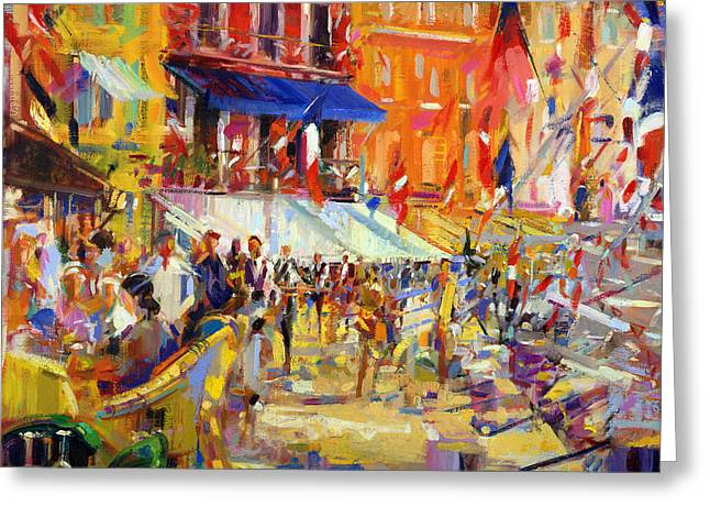 Port Promenade Saint-tropez Greeting Card by Peter Graham