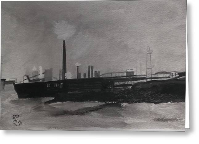 Port Talbot Steel Works Greeting Card by Carole Robins