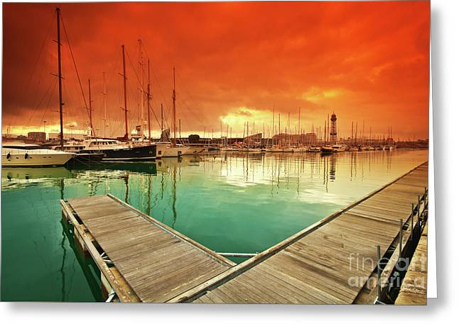 Port Vell - Marina In Barcelona, Spain Greeting Card by Thomas Jones