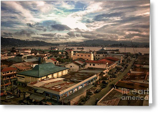 Port View At River Mahakam Greeting Card