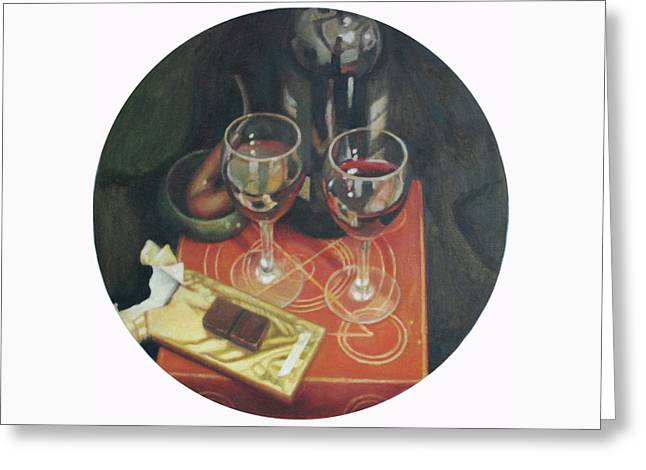 Port  Wine And Chocolate Greeting Card by Mark Manning