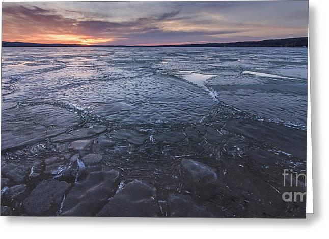 Portage Lake Sunrise In Winter Greeting Card