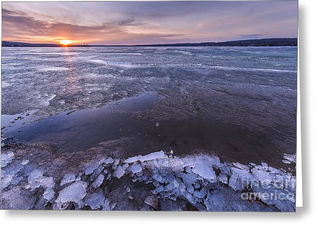 Portage Lake Winter Sunrise Greeting Card