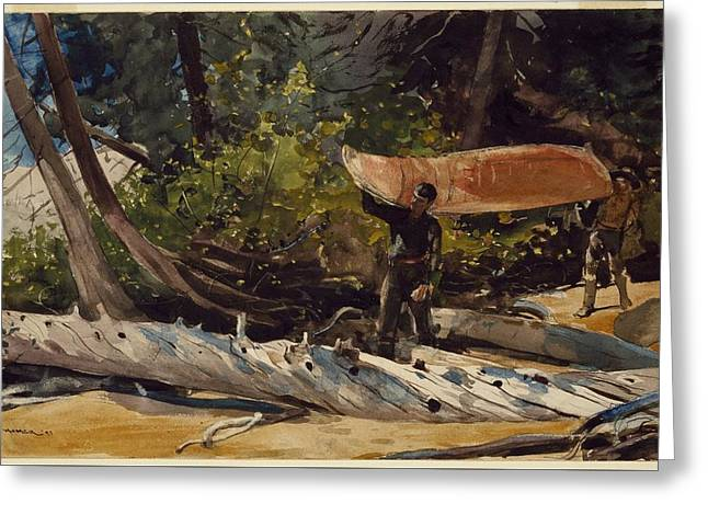 Portage Greeting Card by WinslowHomer